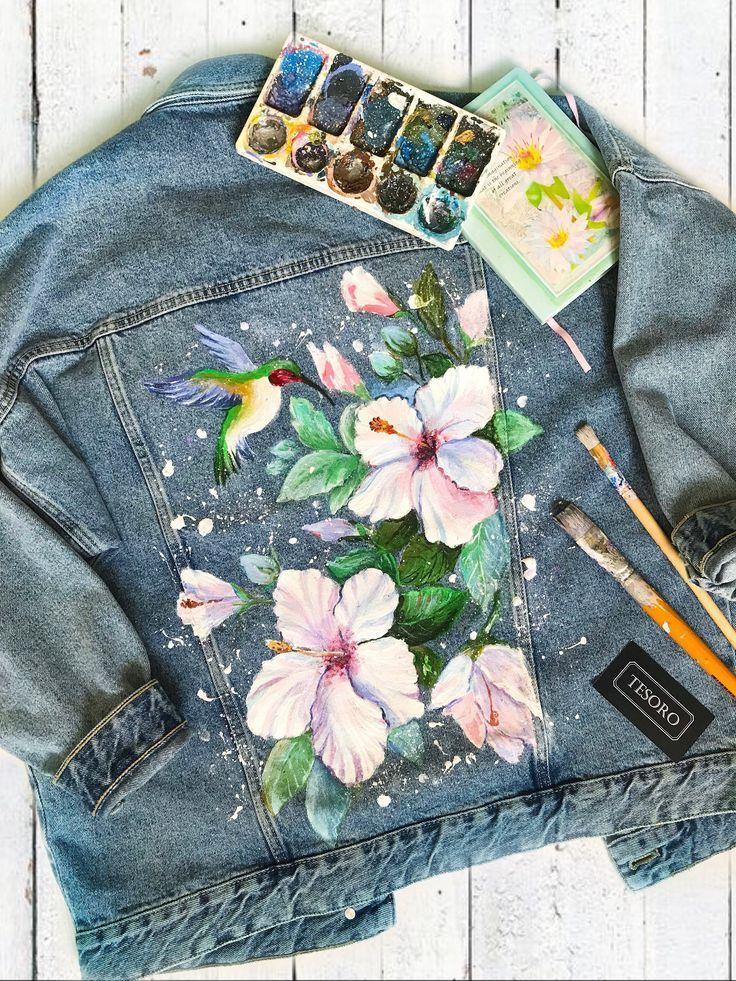 , Jeansjacke mit Kunstwerken Jeansjacke mit Acrylmalerei Kolibris und Blumen Handbemalte Jeansj…, My Travels Blog 2020, My Travels Blog 2020