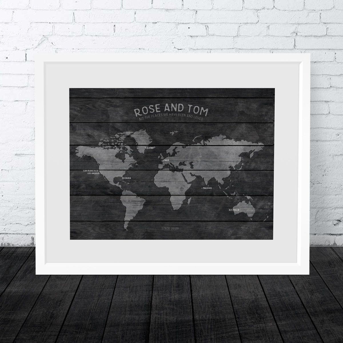 Wood effect paper map world map wall art world travel map print travel map 1st anniversary gift personalised world map 40th birthday place we gumiabroncs Image collections