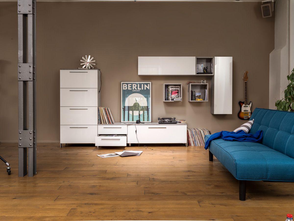 Micasa Wohnzimmer Mit Wohnsystem LARSEN Individuell Zusammenstellbar Und Bettsofa JUNG
