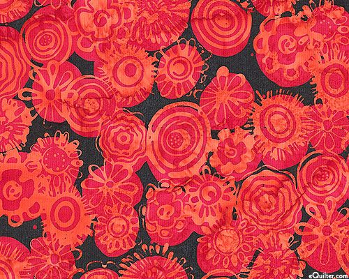 Scrappy Blossoms Batik - Scarlet Red and Black (equilter)