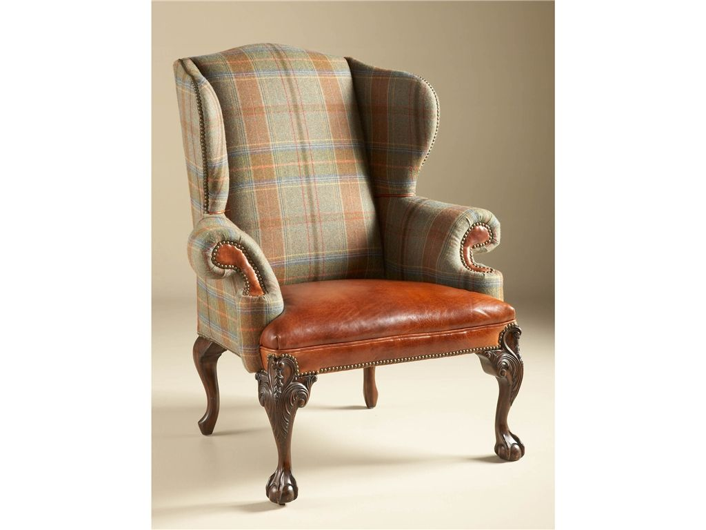 Plaid Chair Maitland Smith Living Room Relaxed Hunt Club Finished Wing