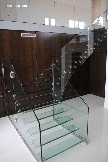 25 Modelos De Escaleras De Interiores Modern Staircase Staircase Design Glass Staircase