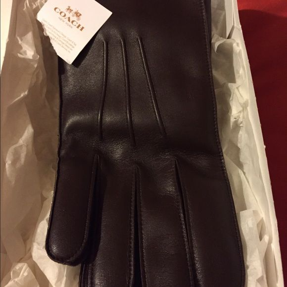 Men's leather coach gloves New brown men's leather gloves Coach Accessories Gloves & Mittens