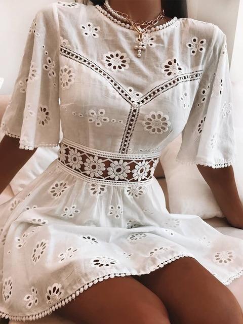 Photo of Aproms Elegant White Floral Embroidery Cotton Dress Women Casual High Fashion Backless Short Mni Dresses High Waist Autumn Dress – White / L
