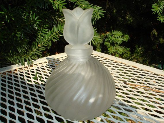 vintage glass perfume bottle tulip flower frosted glass