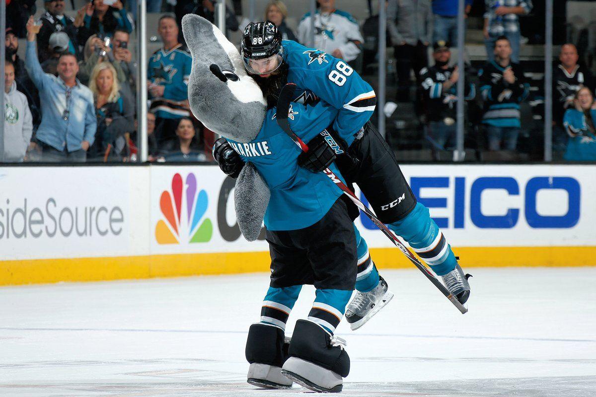 Hockey hugs! San jose sharks hockey, Brent burns