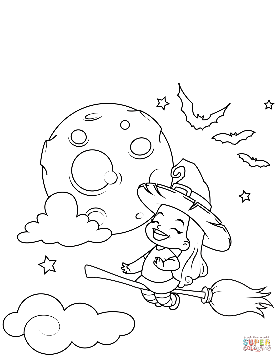 Cute Little Witch Flying on a Broomstick | Super Coloring ...
