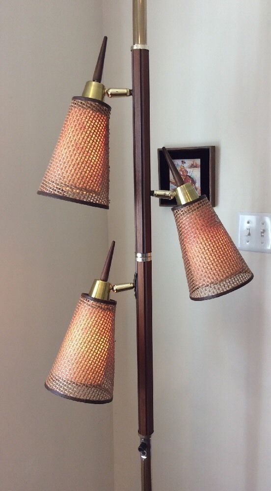 Vintage Tension Pole Floor Lamp Mid Century Modern Br Wood Wicker Works Nice Ebay