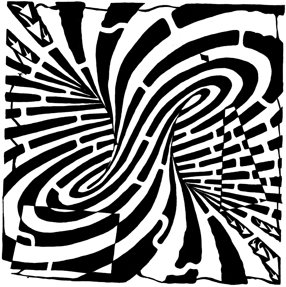 Illusion optic squares - Optical Illusions (Op Art) Coloring Pages ... | 1203x1200