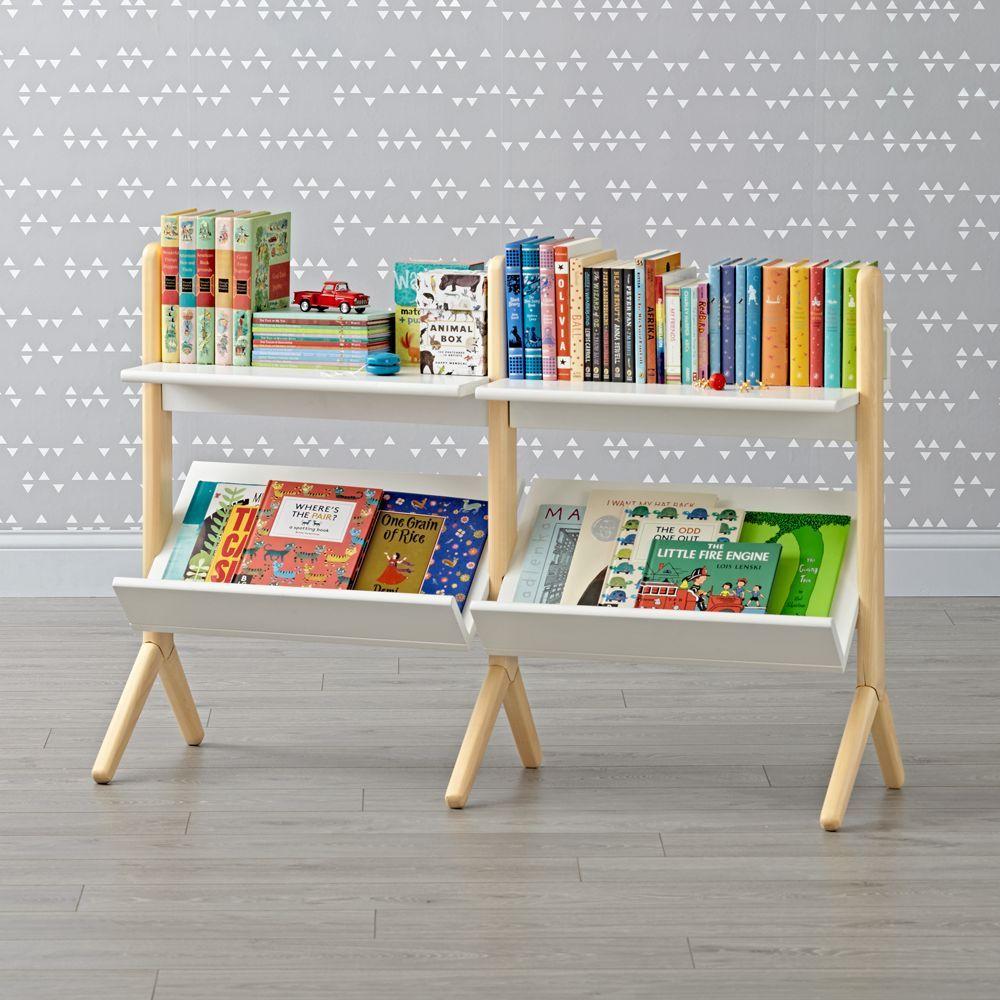 Danish Modern White Natural Wide Bookcase