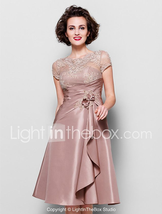 A-Line Scalloped Knee Length Taffeta Beaded Lace Mother of the Bride ...