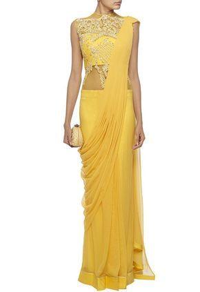 Lemon yellow embellished sari gown by Gaurav Gupta - Shop at Aza ...