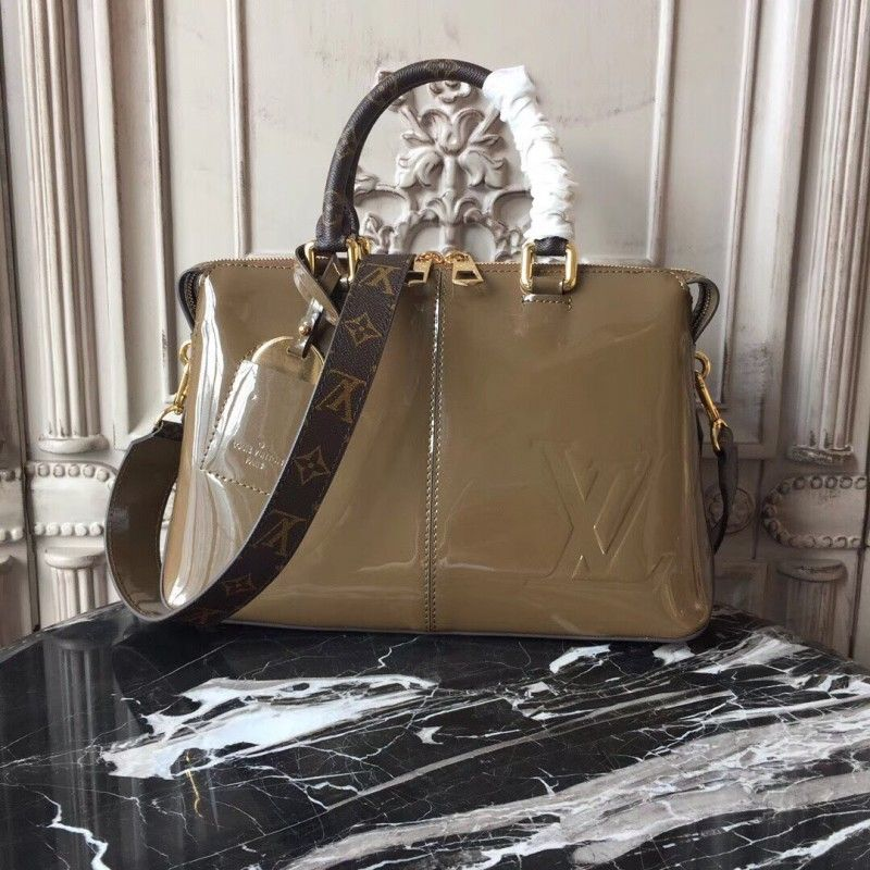 cd4fb08f4df Louis Vuitton M54394 Tote Miroir Patent Leather Vert Bronze