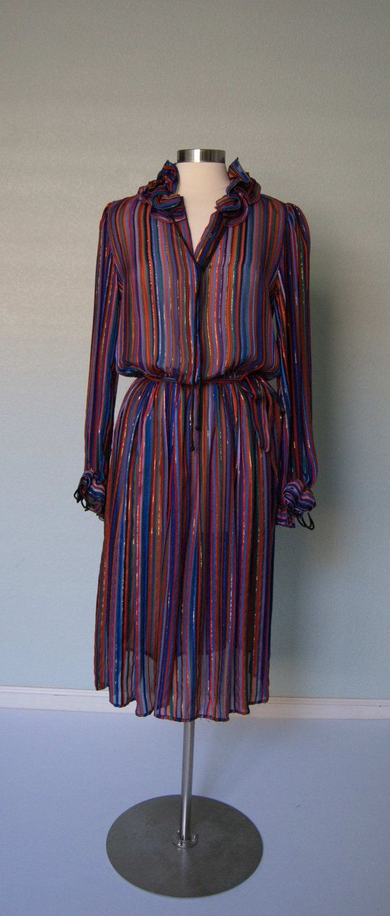 Late 70s - Early 80s Printed Silk Chiffon with Metallic Threads ...