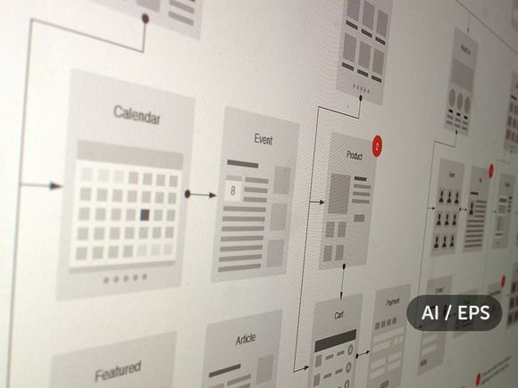 Website flowcharts and site maps ai by ux kits on creative market also rh pinterest