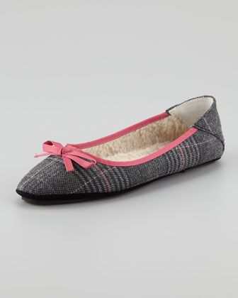 Inslee Bow Faux-Shearling Slipper, Houndstooth by Jacques Levine at Neiman Marcus.