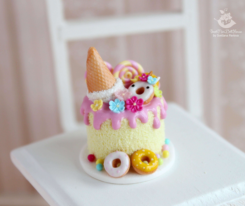 Dollhouse Miniature 4 Cute Halloween Cakes Art Food Bakery Season Party Decor
