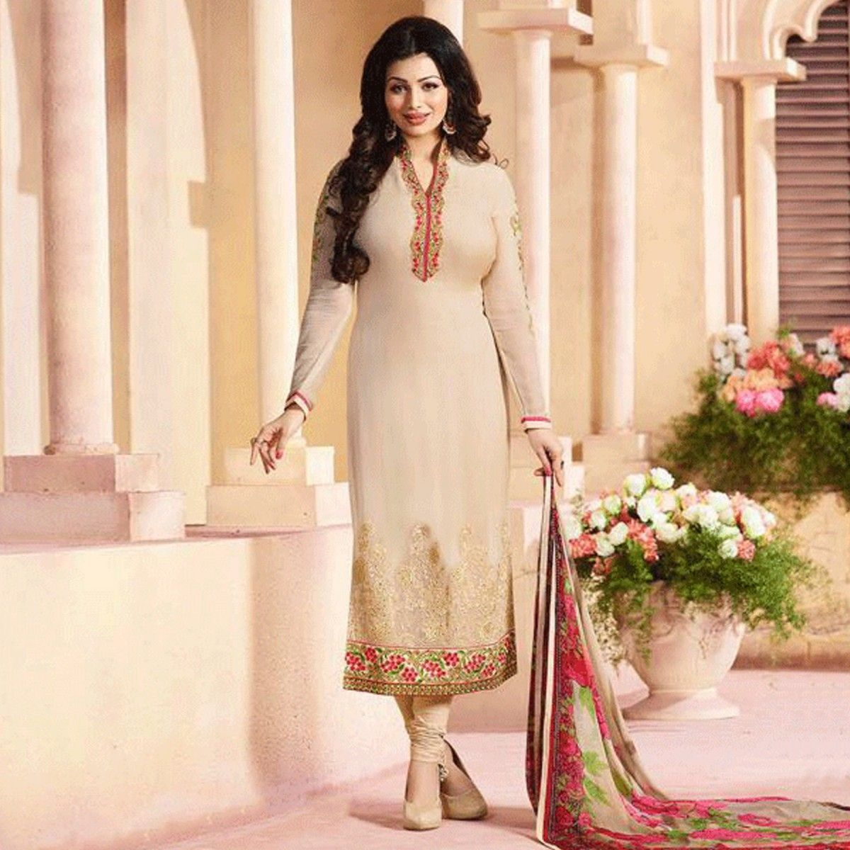 Buy Light Beige Straight Cut Georgette Suit for womens online ...