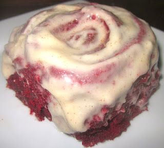 Red Hot Velvet Cinnamon Rolls with Cinnamon-Cream Cheese Frosting...drooling