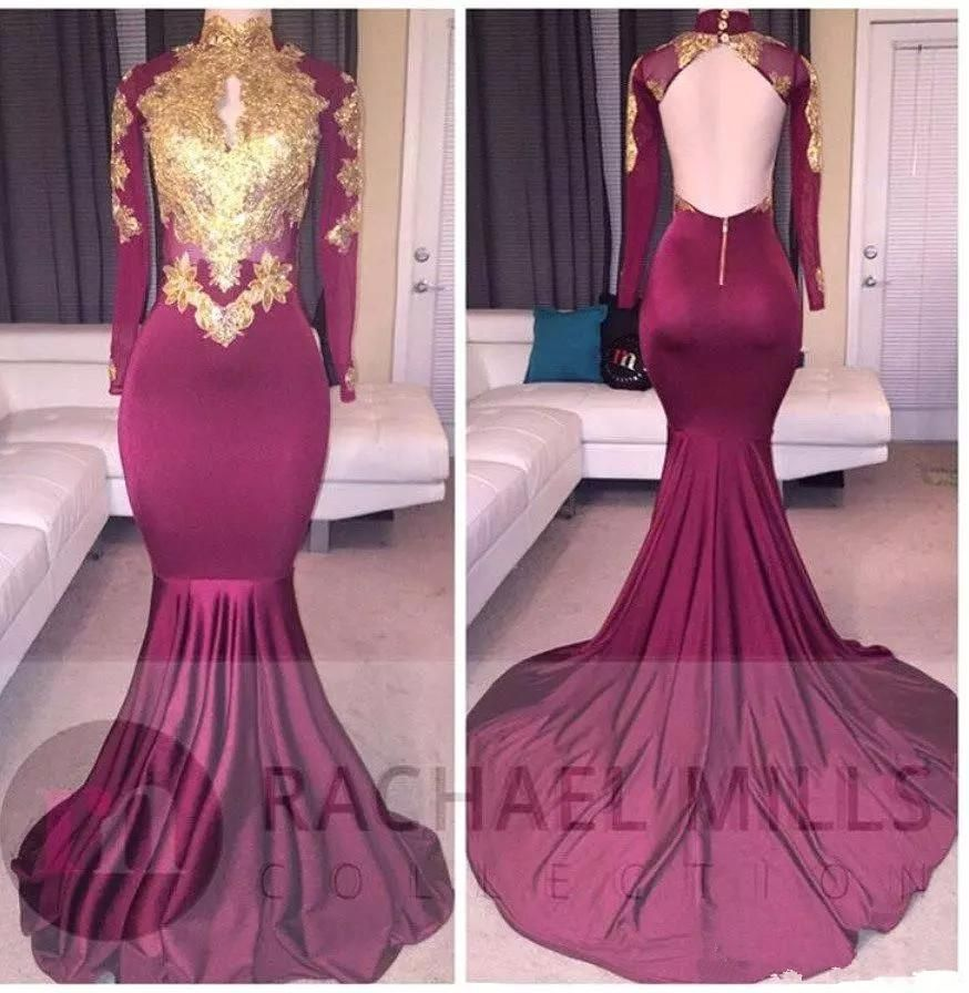 African Gold Lace Prom Dresses Mermaid Burgundy Long Sleeves ...
