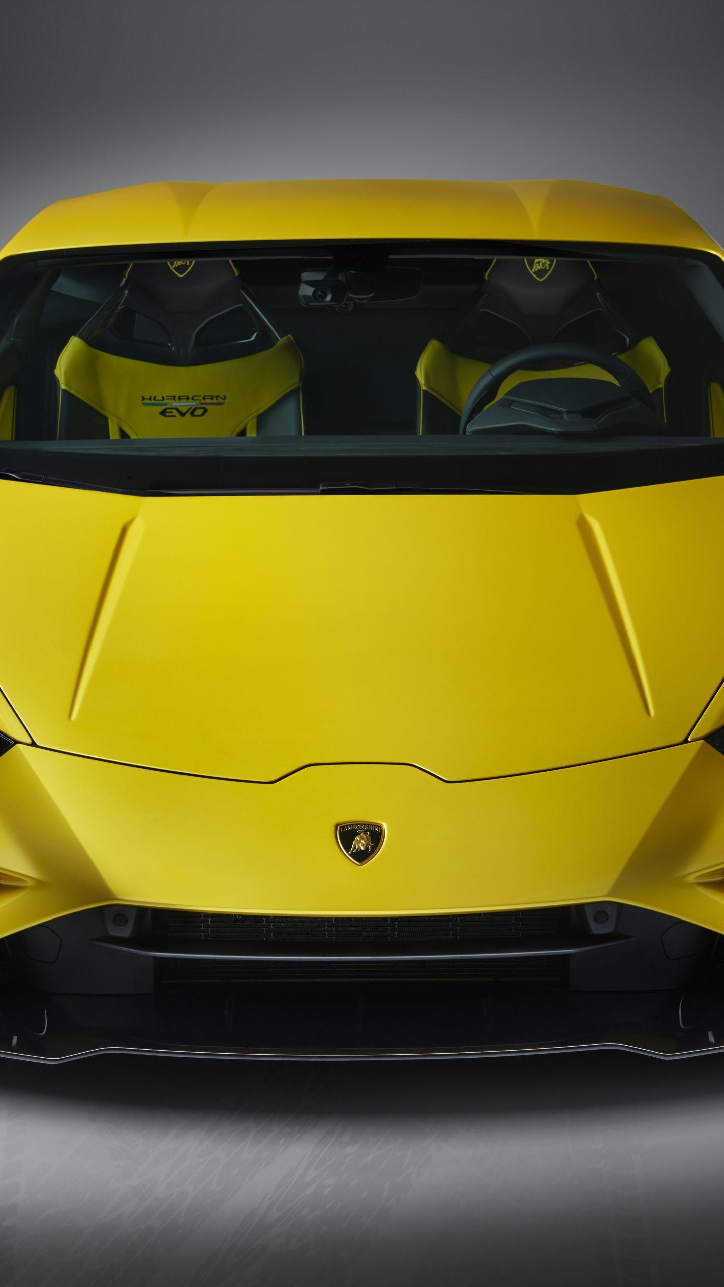 1440x2560 Car Lamborghini Huracan Evo Yellow Car Wallpaper In
