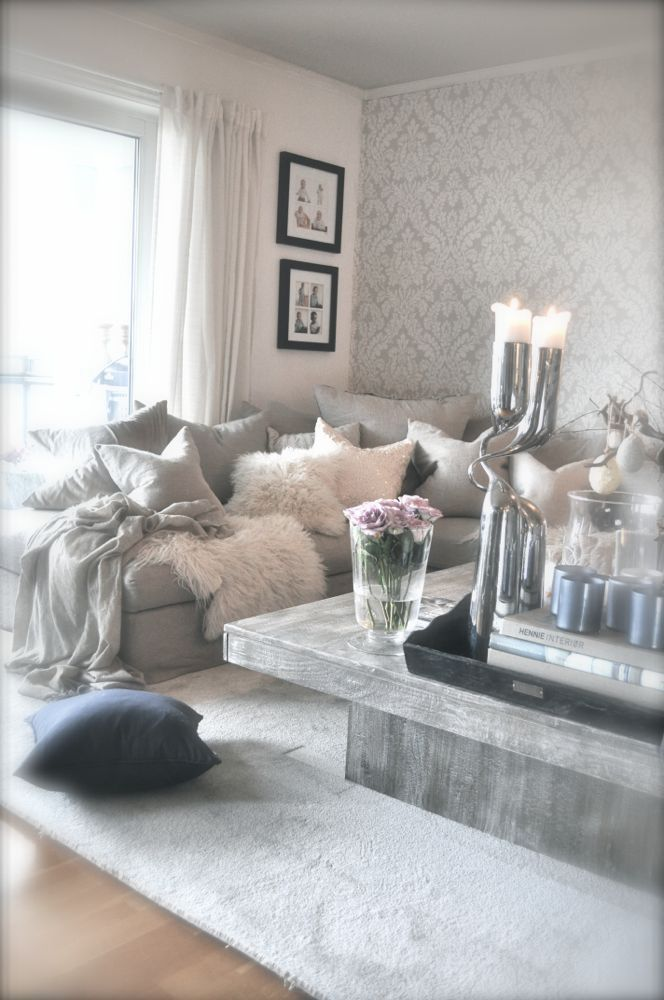 Wonderful @natalia_giselle Gray Couch Living Room, Grey Wallpaper Living Room, Glam  Wallpaper, Living