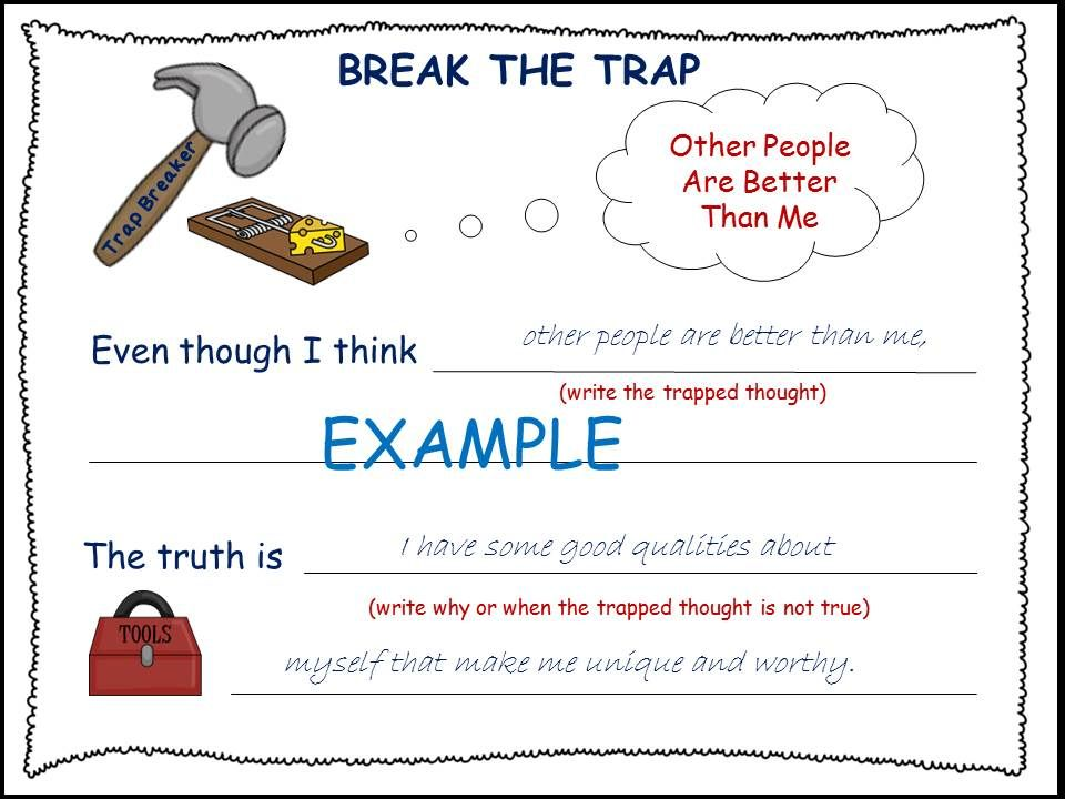 Thought Traps Cognitive Behavioral Therapy CBT Worksheets – Cbt Worksheets for Children