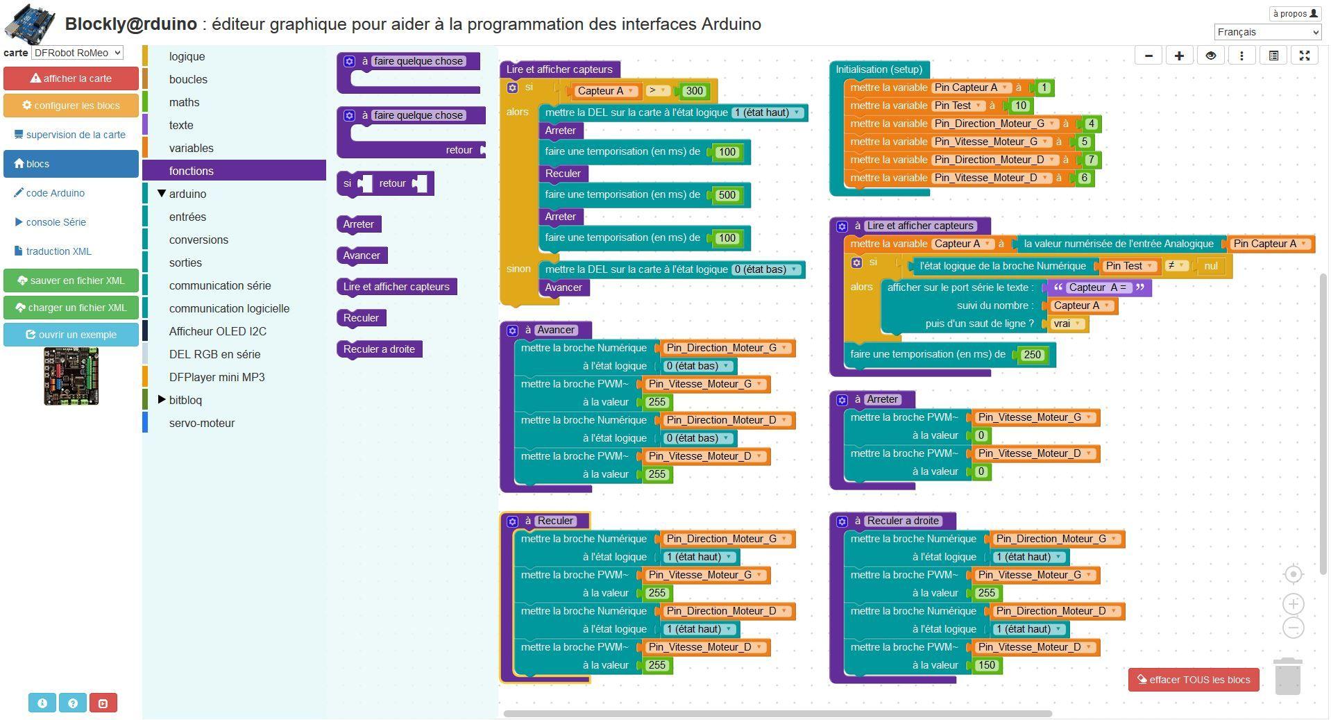 Menus, boîte à outils et espace de travail de Blockly Arduino