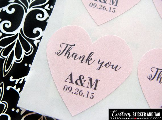 63 thank you heart stickers 1 personalized with your initials and wedding date envelope