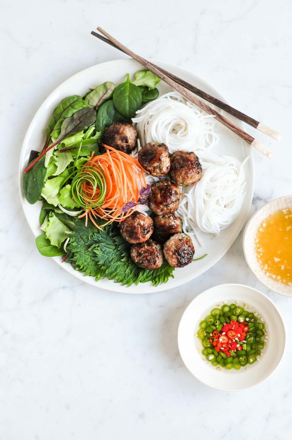 Cuisine Royale Brightness Too High Bun Cha Vietnamese Meatballs With Vietnamese Noodle Salad