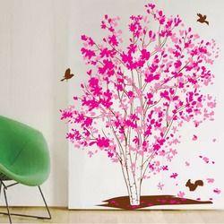 Väggdekor rosa träd