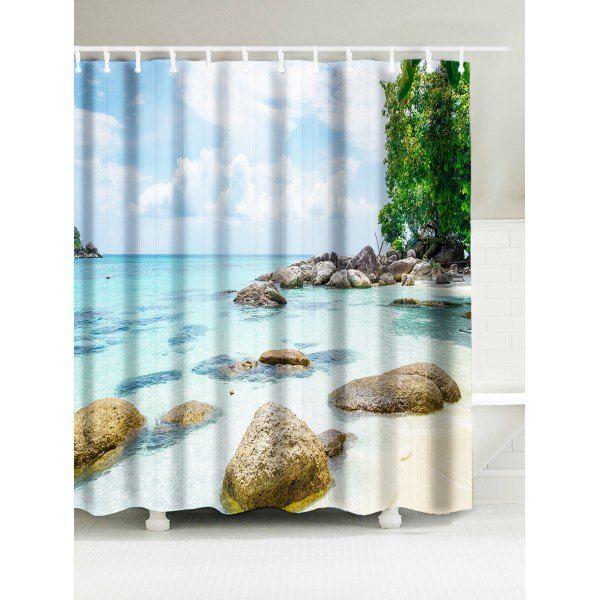 20 46 Sea Beach Print Waterproof Fabric Shower Curtain W71inch
