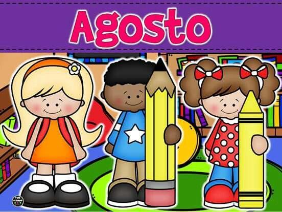 Agosto Dibujo De Escuela Tarjeta Didactica Cosas De Escuela