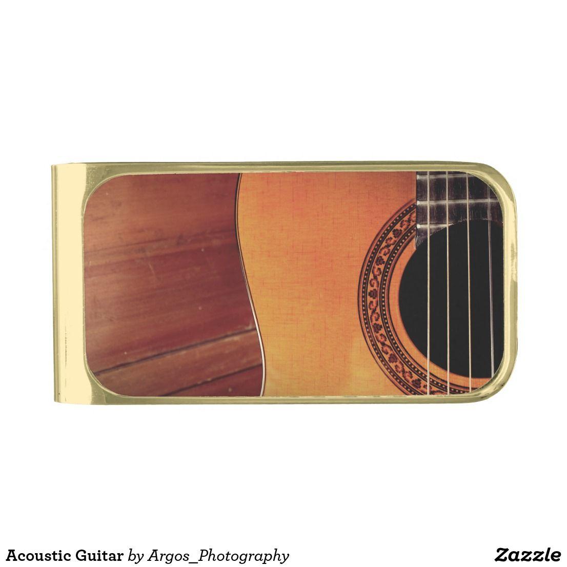 Acoustic Guitar Gold Finish Money Clip Zazzle Com Custom Money Clips Guitar Gifts Money Clip