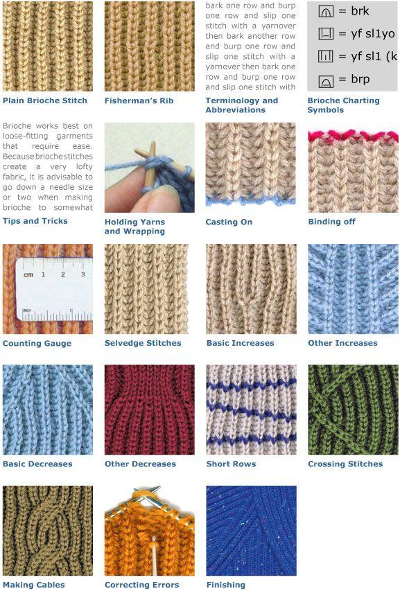 Knitting Stitch Pattern Index : The Brioche Stitch- several good stitch patterns. http://briochestitch.com/br...