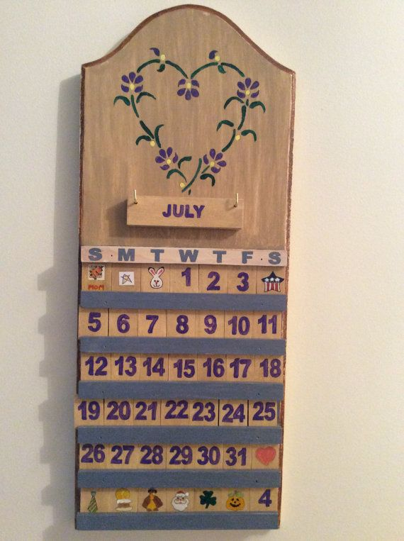 Charming And New Perpetual Wall Calendar Is Freshly Handpainted In