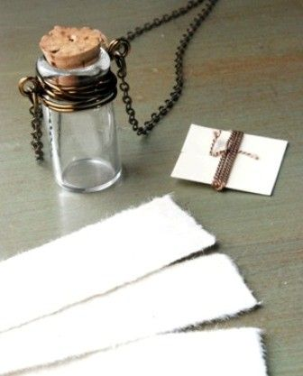 Make your own message in a bottle necklace. <3