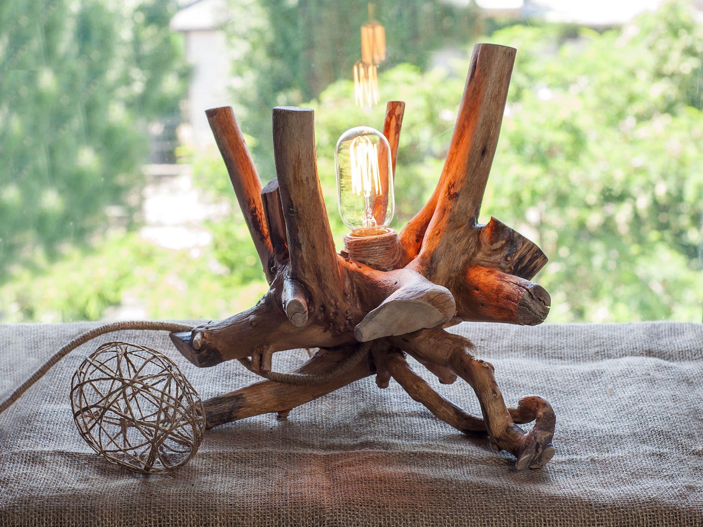 Driftwood lamp wood lamp rustic light edison light wood log lamp