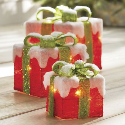 Christmas Gift Box Decorations Set Of 3 Lit Gift Boxes ~ $5999 At Countrydoor  Christmas