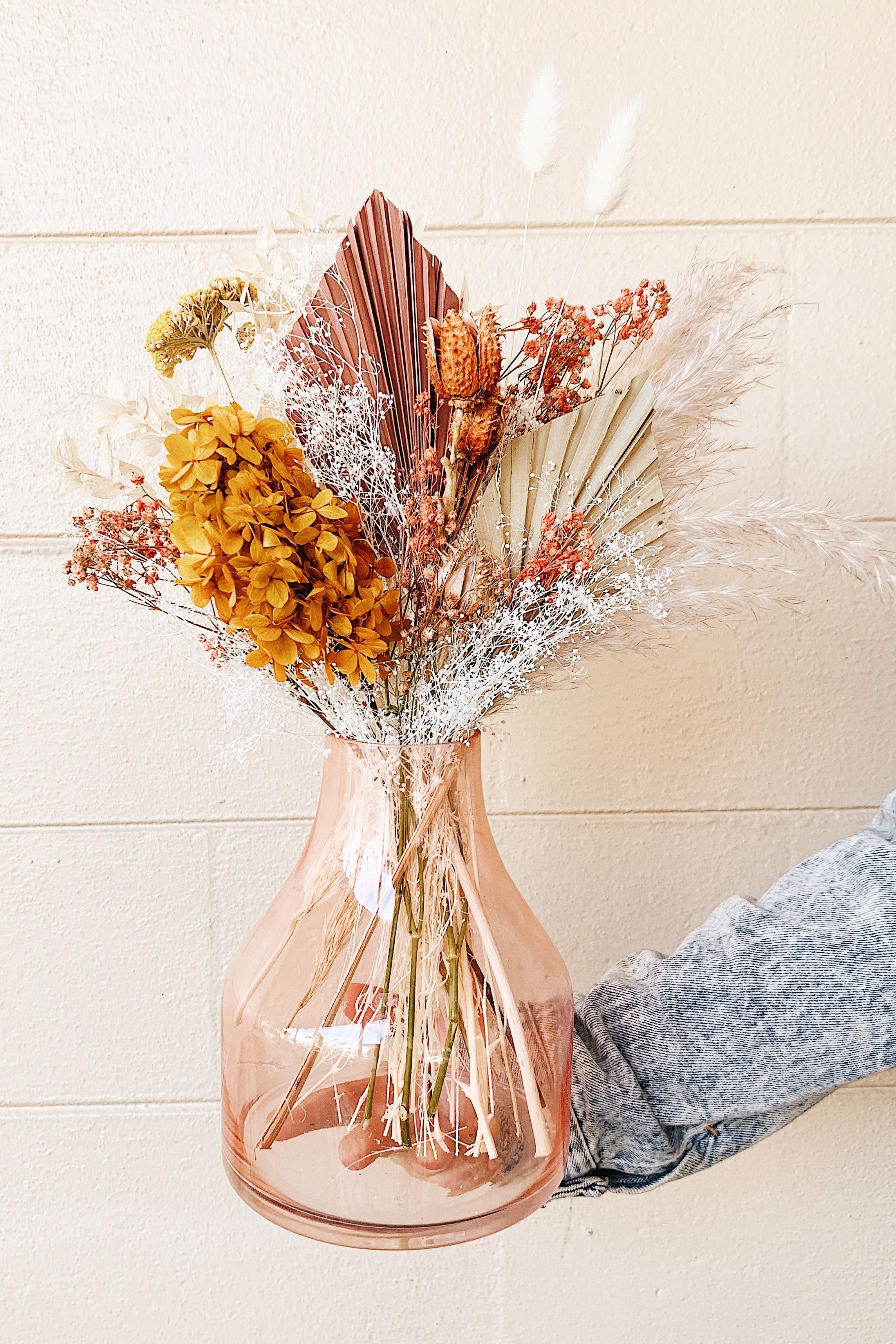 Simple Pink And Orange Dried Flower Arrangement For Boho Home Decor In 2020 Dried Flowers Dried Flower Arrangements Dried Flower Bouquet