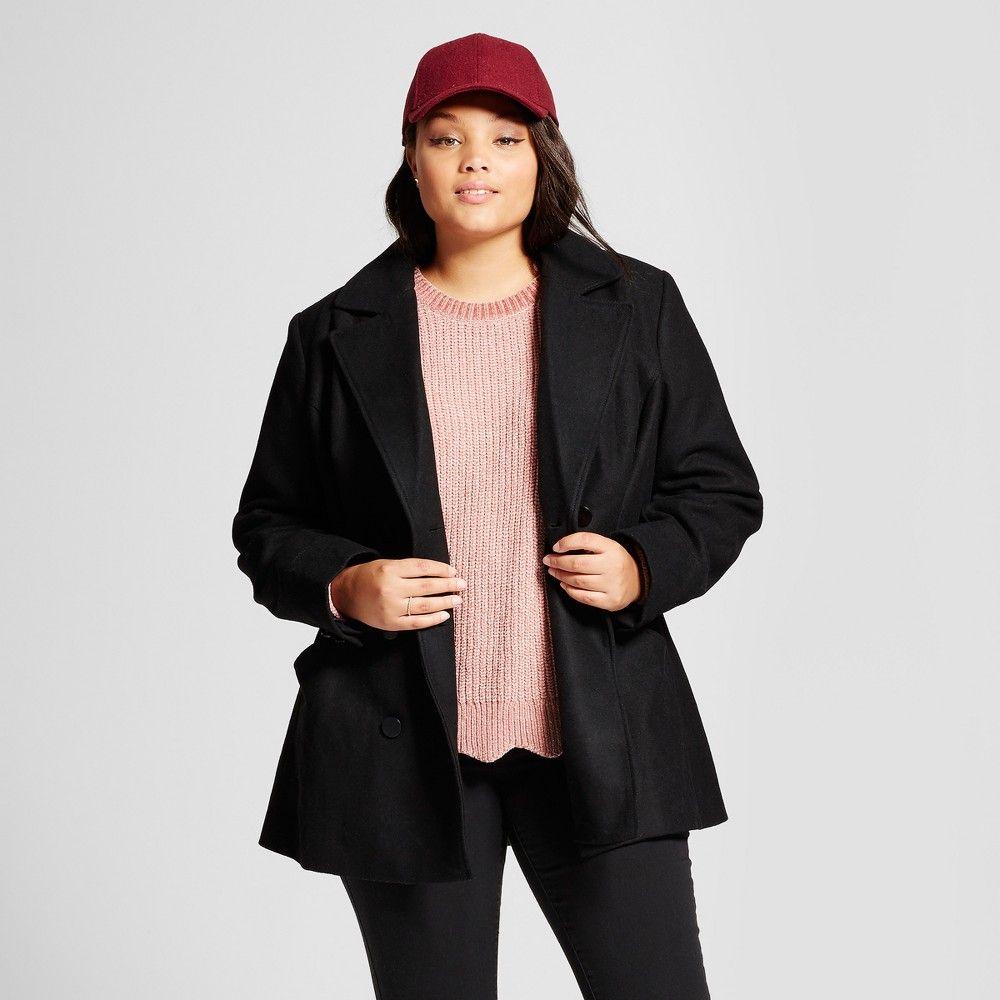 Plus Size Women s Plus Pea Coat with Swing Back - Ava   Viv Black 2X ... 52415fdef3
