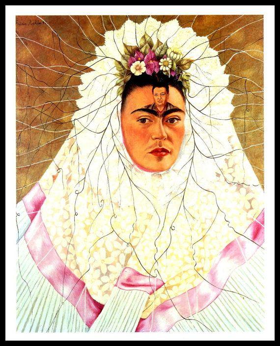 Selbstporträt, Frida Kahlo 1943 Malerei bereit wie ein Tebuana (Diego In meinen Gedanken), Vintage Seite Teller, Buch zu Frame