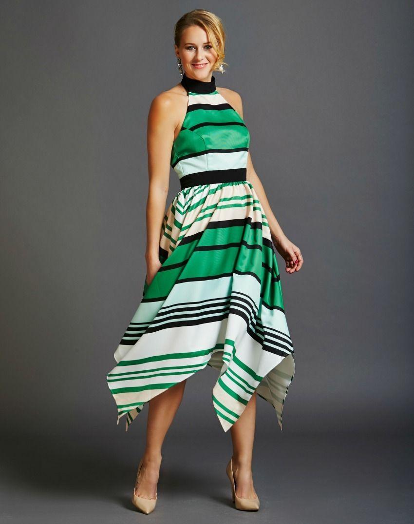 Multi-Coloured Turtleneck Halter Dress | Rent Frock Repeat ...