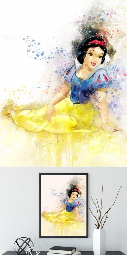 Snow white art, princess wall decor, disney princess art, snow white ...