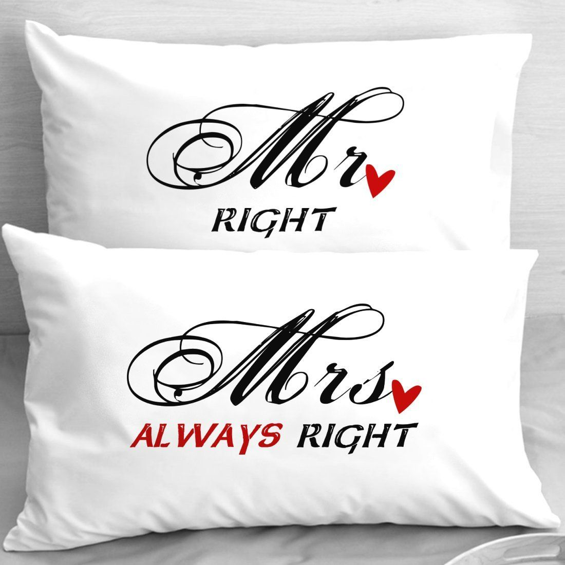 Mr right mrs always right pillowcases first anniversary for Gift ideas for first wedding anniversary to wife