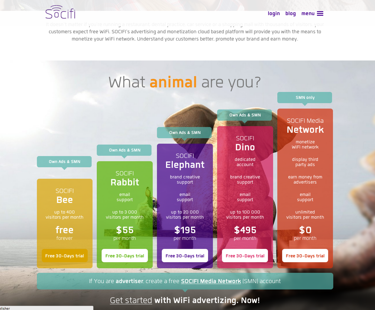 Interesting, as it is fun and colourful. Here it is listen in terms of hierarchy of cost. This concept was for the idea of conceptualizing the animal concept into the pricing page. It is also interactive, as when clicked on each of the CTA's for the particular package, the header saying who the package is for, jumps up and the animation goes well with the theme of the webpage