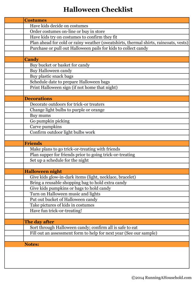Halloween Checklist You CanT Miss  Free Printable  Meals Food