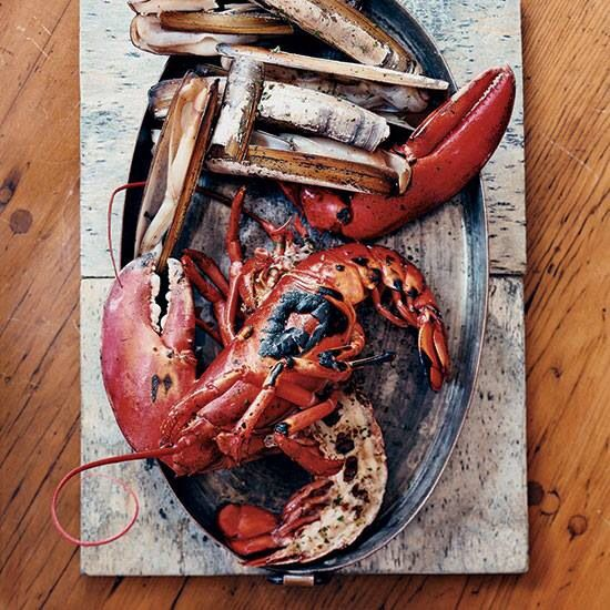 Grilled lobster and razor clams