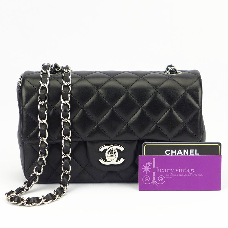 Chanel Mini Flap Black Colour Lambskin With Silver Hardware Good Condition Ref Code Kkyk 1 Chanel Mini Flap Black Chanel Mini Flap Chanel Collection