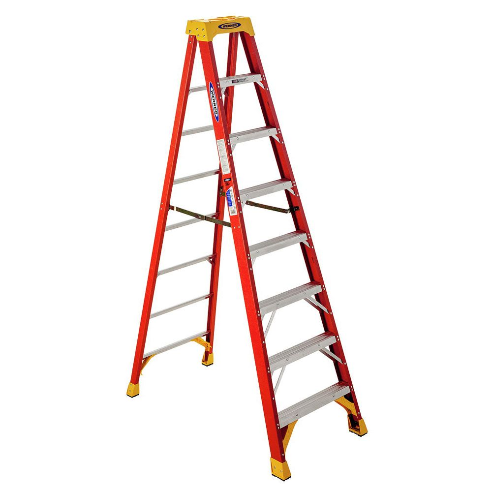 Werner 10 Ft Type Ia Fiberglass Stepladder Step Ladders Fiberglass Ladder